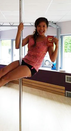 Polelatis Graded pole dance student Jeane