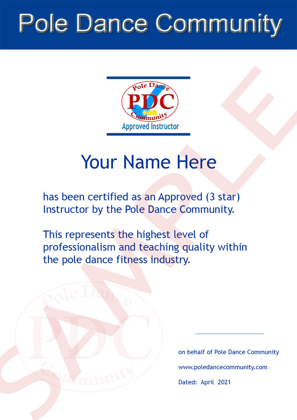 PDC instructor certificate
