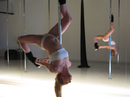 Flying Fitness Pole Dance Teacher Angie Montgomery